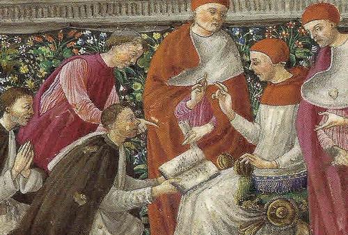 """Giuliano Amadei, """"Prezentacja księgi przed Papieżem Innocentem VIII, 1485-87, (Paris Bib. de Arsenal)"""