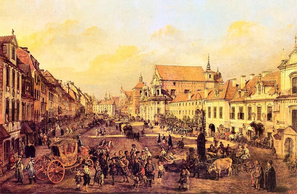 Kolumna Zygmunta w tle Krakowskiego Przedmiescia